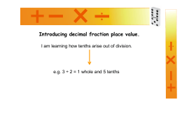 Introducing decimal fraction place value