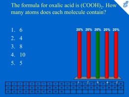 The formula for oxalic acid is (COOH)2. How many atoms does each