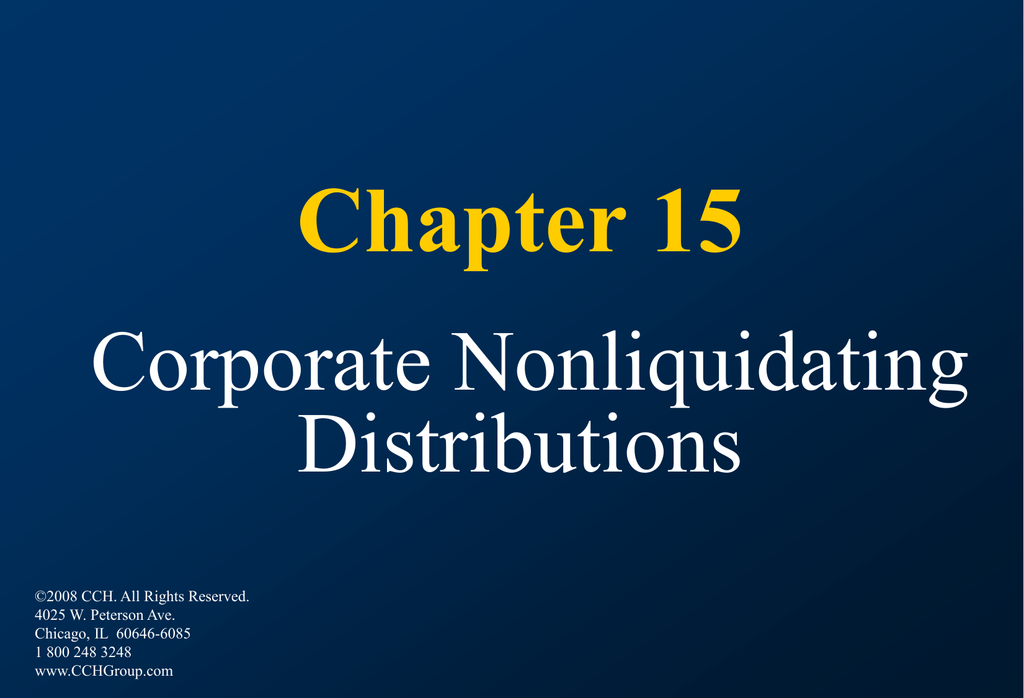 Chapter 4 corporate nonliquidating distributions