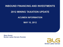 inbound financing and investments 2010 mining taxation update