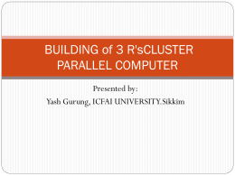 A Proposal of Building Three R`s Cluster Paraller