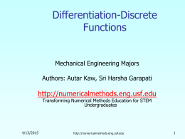 Differentiation of discrete Function