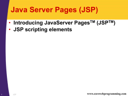 CWP: JavaServer Pages
