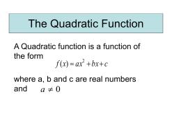 The Quadratic Function