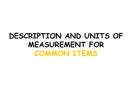 description and units of measurement for common items