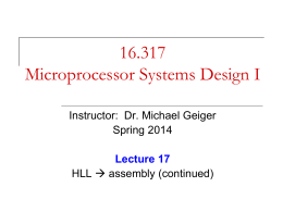 HLL and x86 assembly - Michael J. Geiger, Ph.D.