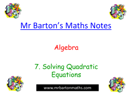 Solving Quadratics - Chiltern Edge School