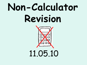 Non-Calculator Revision