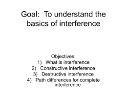 Goal: To understand the basics of interference