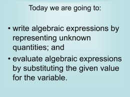 Evaluating Algebraic Expression