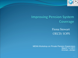 Improving Pension Coverage of Informal Sector Workers