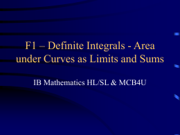 F1 - Area under Curves as Limits and Sums