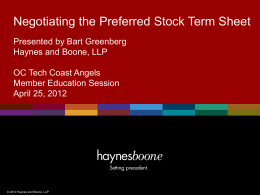 How To Negotiate a Stock Term Sheet