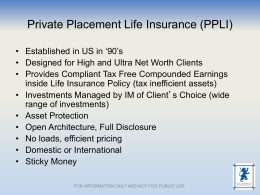 Iain Scott: Private Placement Life Insurance
