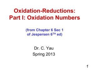 Oxidation Numbers - CCBC Faculty Web