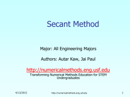 Secant Method Nonlinear Equations