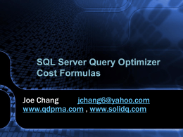 SQL Server Query Optimizer Cost Formulas
