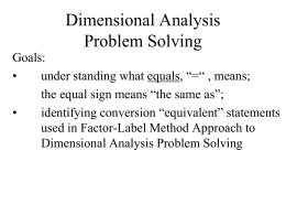 Units & Dimensions : Dimensional Analysis