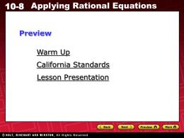 10-8 Applying Rational Equations