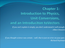Lecture: Chapter 1 and Introduction to Vectors