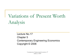 Variations of Present Worth Analysis