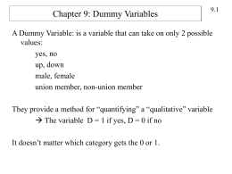 Chapter 9: Dummy Variables