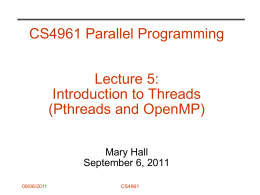 Introduction to Shared Memory Programming