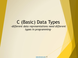 C Programming ppt slides, PDF on data types