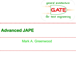 Advanced JAPE