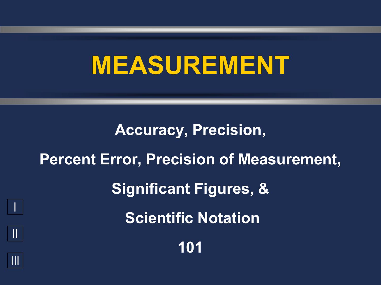 Accuracy, Precision, Percent Error, Significant