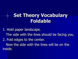 Set Theory Vocabulary Foldable