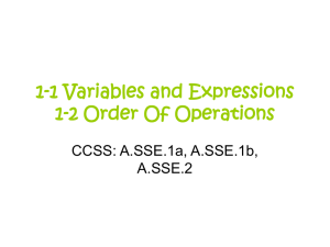 1-1 Variables and Expressions, 1