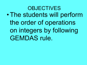 Order of Operations - Baltimore City Public Schools