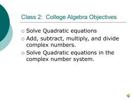 Class 2: Objectives