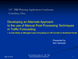 Traditional Approach - 15th TRB National Transportation Planning