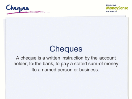 Cheques - Ulster Bank MoneySense at Home