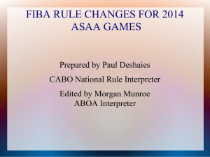 FIBA RULE CHANGES FOR 2014 For ACAC Games