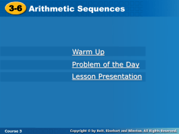 3-6 Arithmetic Sequences
