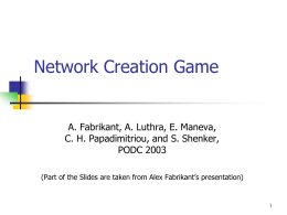 On a Network Creation Game