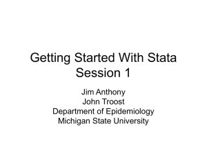 Getting Started With Stata - Department of Epidemiology
