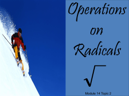 Operations on Radical Expressions