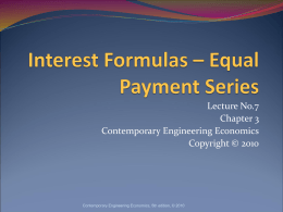 Interest Formulas – Equal Payment Series