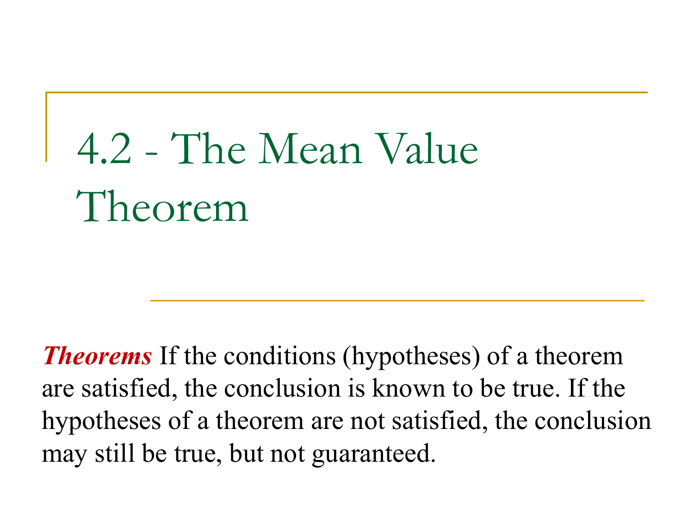 Mean Value Theorem Problems
