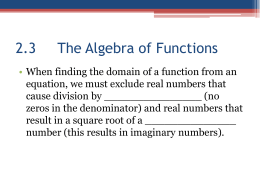 2.3 The Algebra of Functions
