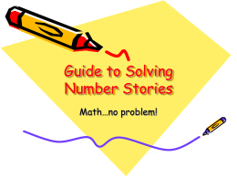 Guide to Solving Number Stories