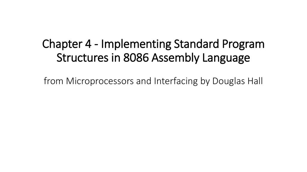 Chapter 4 - Implementing Standard Program