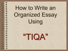 How to Write an Essay using TIQA