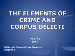 Chapter 3 THE ELEMENTS OF CRIME AND CORPUS DELICTI