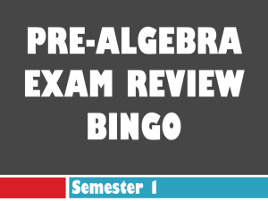 Pre-Algebra Exam Review BingO