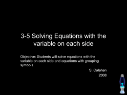 3-5 Solving Equations with the variable on each side